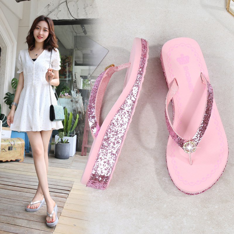 Women Wedges Slippers Summer New Fashion Sequined Thick Bottom Sandals Outdoor Recreation Rhinestone Beach Flip Flops Female in Flip Flops from Shoes