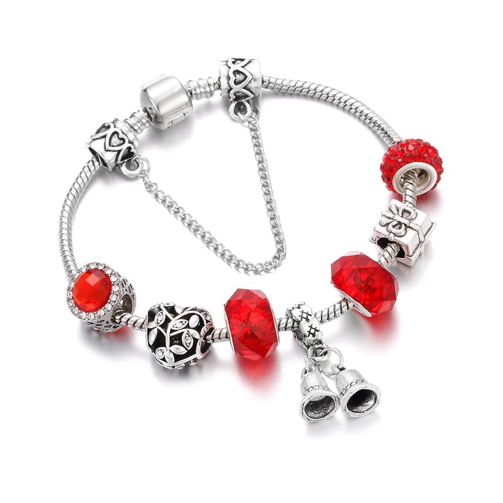 Antique Bracelet Women Red Bead Alloy Bell Pendant Snake Chain Bracelets & Bangles Womens Wedding Girl Gift DIY Jewelry pulsera