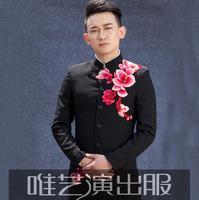 Mężczyźni haftowane olśniewająca blazer suits projektuje kostiumy sceniczne dla śpiewaków mężczyzn tańca ubrania kurtka w stylu gwiazdy suknia ślubna czarny
