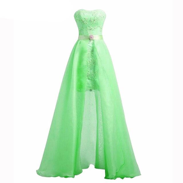 Sage Encaje de Dos Piezas de Vestidos de Baile 2017 Desmontable Falda Sin Tirantes 2 en 1 Organza Vestido de Fiesta de bienvenida Vestidos Personalizar SSX015