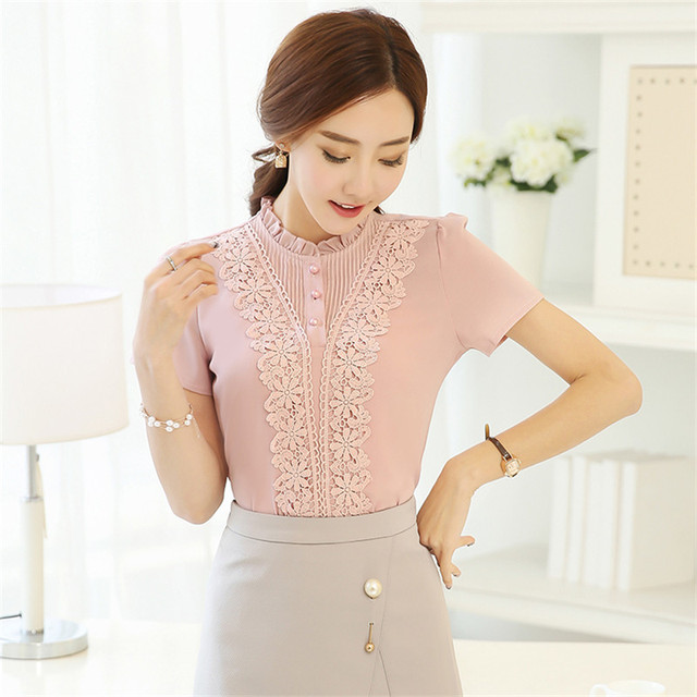 BIBOYAMALL Women Blouses 2017 Casual Lace Elegant OL Blouse Slim Short Sleeve O-neck Work Wear Blusas Tops Shirts Plus size Pink