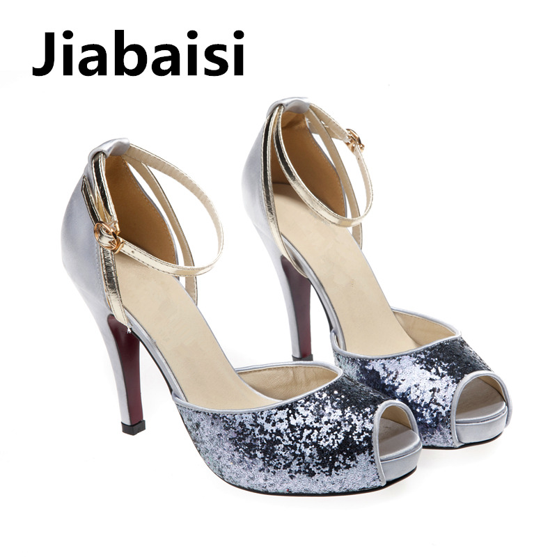 Jiabaisi shoes Women sandal platform Dazzling 10CM High Heel Glitter Stiletto sandal Large size Wedding Party sandals 2015 fashion women sandal thin high heel open heel glitter thick platform sandalias plataforma high heel sandal made to order