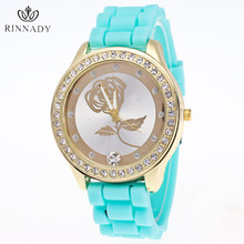 RINNADY Brand Luxury Quartz watch Casual Ladies Women Watches Girl Geneva Silicone Quartz Golden Crystal Stone Jelly Wrist Watch