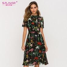 S.FLAVOR z krótkim rękawem sukienka z nadrukiem dla kobiet nowa moda szyfonowa, Slim sukienka trapezowa czeski lato sukienki Midi
