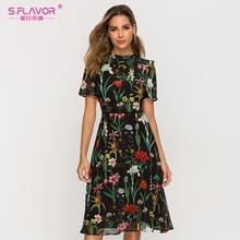 S. sabor manga curta vestido de impressão para o sexo feminino nova moda chiffon magro a line vestido boêmio verão midi vestidos