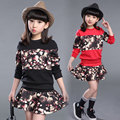 Kids Girls Skirt Set 2016 Long Sleeve T-shirt & Tutu Skirt Set 2 pcs Girls Outfits Set Black Red Teenage Girls Clothing Set Fall