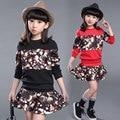 Kids Girls Skirt Set 2016 Long Sleeve T-shirt & Tutu Skirt Set 2 pcs Girls Outfits Set Black Red Teenage Girls Clothing Set Fall