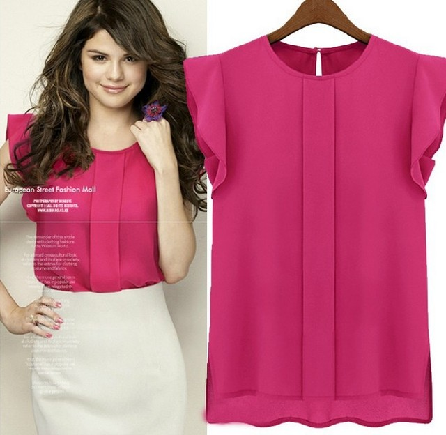 2014 summer fashion woman chiffon t shirt casual loose t-shirt for women plus size tops blouses blue green red M L XL t-shirts