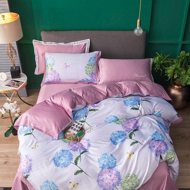 Fanaijia Summer Silk Bedding Set Luxury pink Flower Duvet Cover with Pillowcase Flat Sheet 4 Pcs queen comforter sets