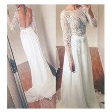 Nach Maß 2016 Elegante A-Line Long Sleeve Abendkleid Mit Perlen Abendkleid Weiß Chiffon Backless Vestidos