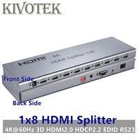 KIVOTEK 4 К/60 Гц HDMI Разделение тер 1x8, разделение 1 в 8 Out разъем HDMI, мужчинами адаптер, полный 1080 P, 3D EDID/RS232 Управление для HDTV