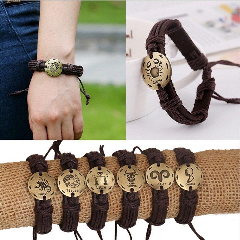 Fashion 12 Zodiac Signs Leather Bracelet Constellations Lether Bracelets Adjustable Bracelet Jewelry Z-409