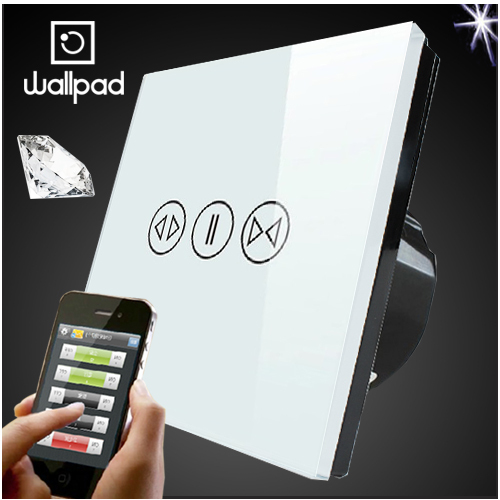 EU UK Standard Crystal Glass White Wifi Curtain Switch,Wallpad Wireless Remote control wall touch Curtain switch,Free Shipping eu 1 gang wallpad wireless remote control wall touch light switch crystal glass white waterproof wifi light switch free shipping