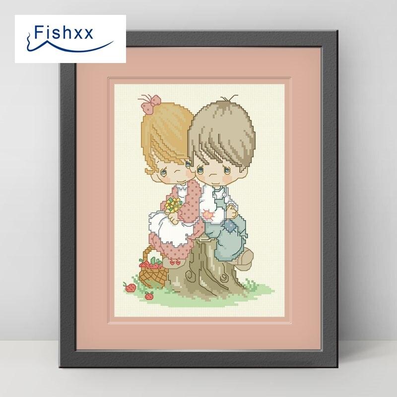 Европейский стиль идиллической персонажи мультфильмов fishxx вышивки крестом комплект H097 небольшой пара на дерево Pier ручного шитья