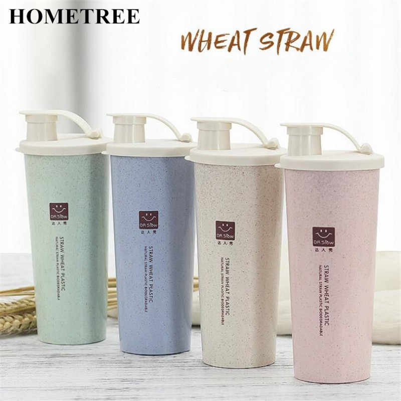 cafacac14ae Detail Feedback Questions about HOMETREE 450ml My Water Cup Cola Coffee  Mugs Wheat Straw Plastic Healthy Drink Bottle Lid Daily Drink Sports  Outdoor Cup ...