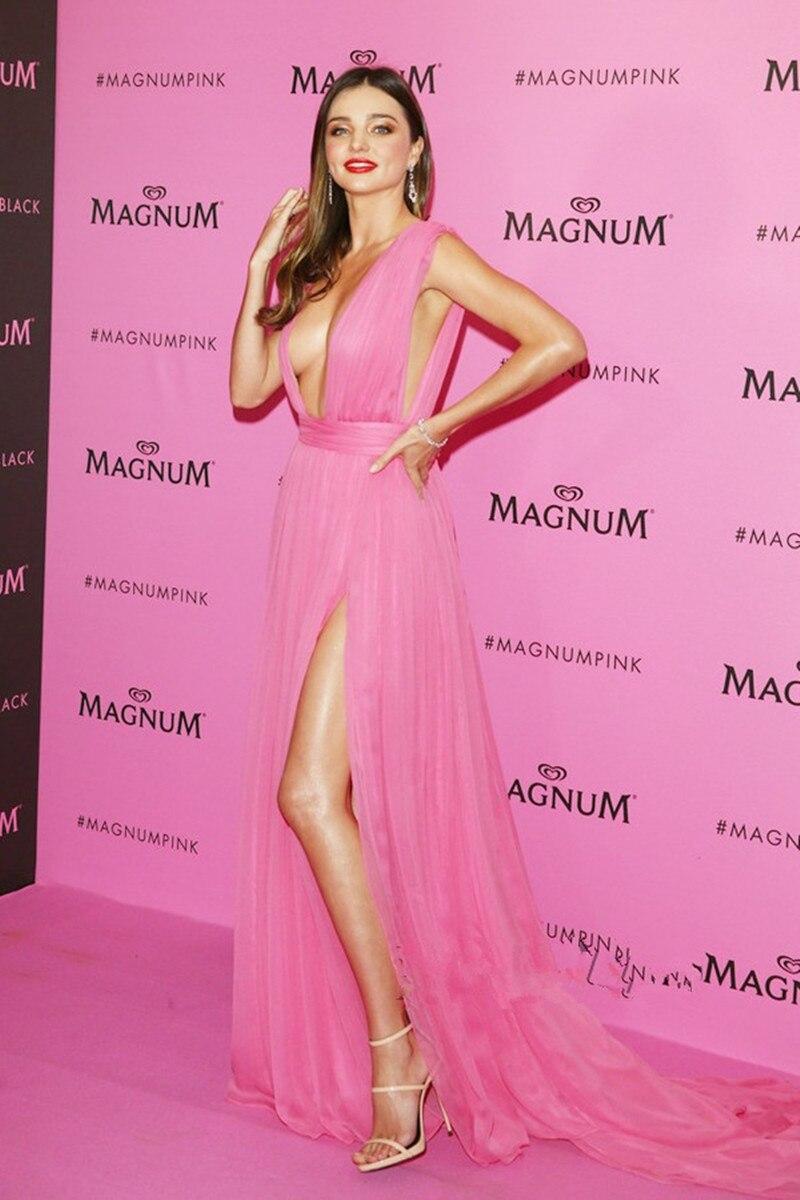 Sexy Tiefem V ausschnitt Rosa chiffon berühmtheit Prom Kleid Miranda ...