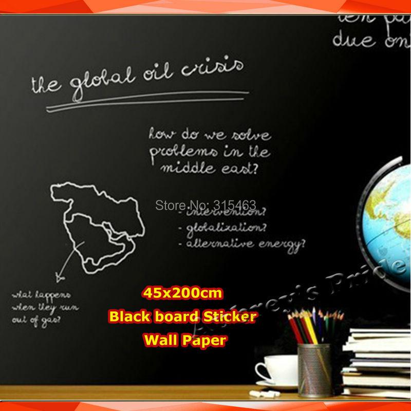 € 2.01 7% de réduction|45x200 cm tableau noir autocollant papier peint  décor amovible vinyle tableau blanc vert + 5 craie (ou 1 stylo à eau  blanche) ...