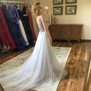 Image 2 - V צוואר נוצץ שמלות נשף 2020 ללא משענת ערב מסיבת שמלה אלגנטי סקסי לראות דרך גבוהה פיצול Vestido דה festa תמונה אמיתית