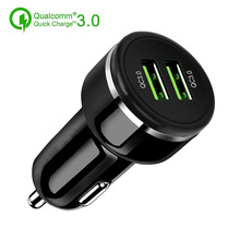 24W Car Mobile Phone Quick Charger 3.0 For iPhone Xiaomi Mix 3 Samsung Double USB Fast Charging Adapter