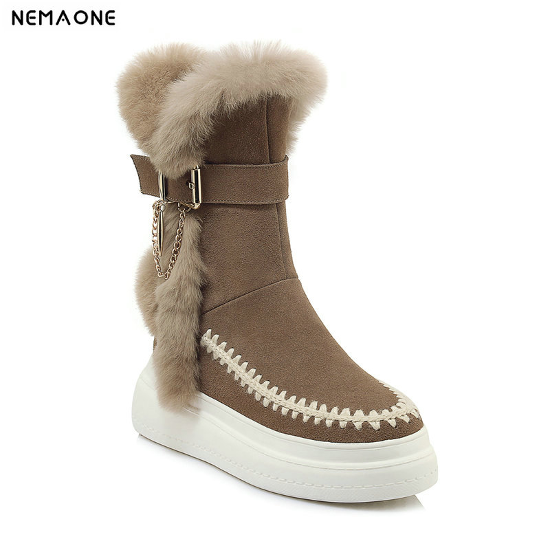 NemaoNe High Quality Fashion Women Snow Boots Winter Warm Boots Genuine Leather 100% Natural Fur Women Boots nemaone 100