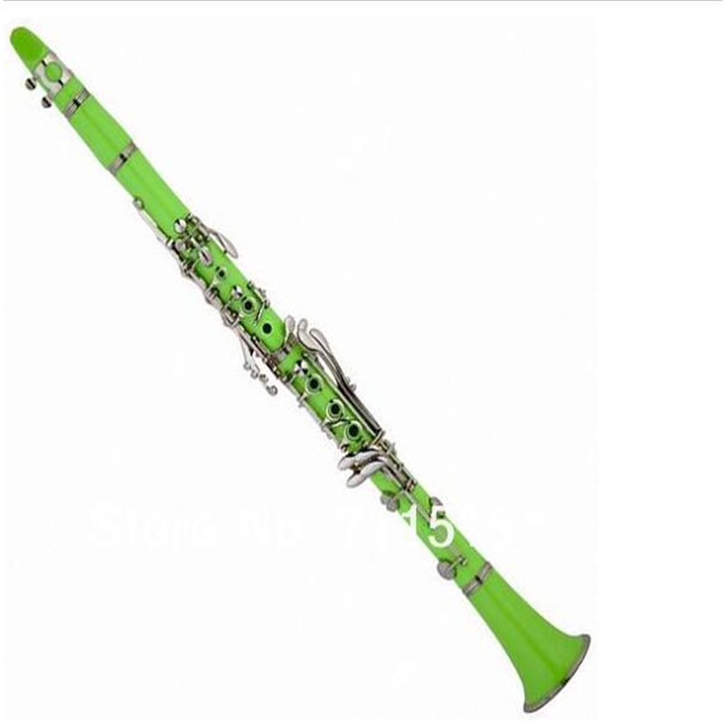 China Manufacturers - 17 key bakelite clarinet in B flat green copper plated clarinete clarinetto
