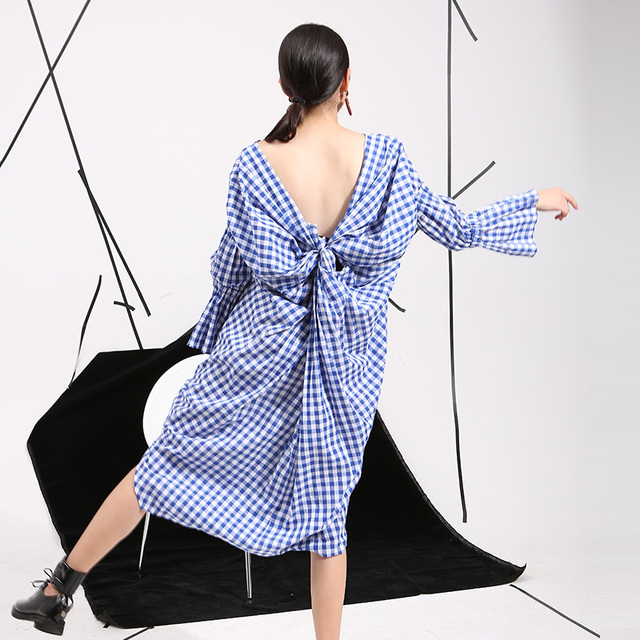 [soonyour] 2016 summer new Korean temperament hollow back design split personality sweet Plaid Dress wholesale 8315