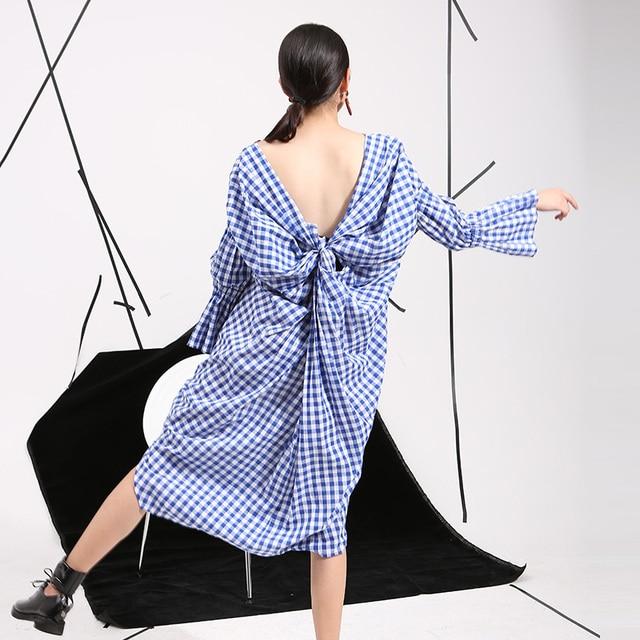 [soonyour] 2016 summer new Korean temperament hollow back design split personality sweet Plaid Dress wholesale 8315