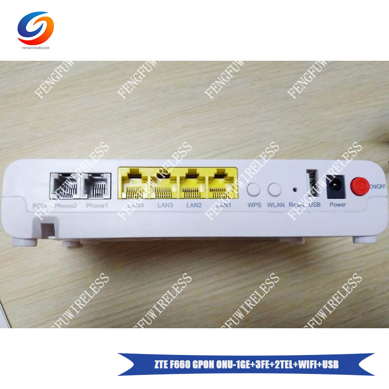 100% Brand New and Original ZTE F660 2POTS 4LAN 1USB 1WiFi GPON ONU  Compatible FTTH Fiber Optical Network router
