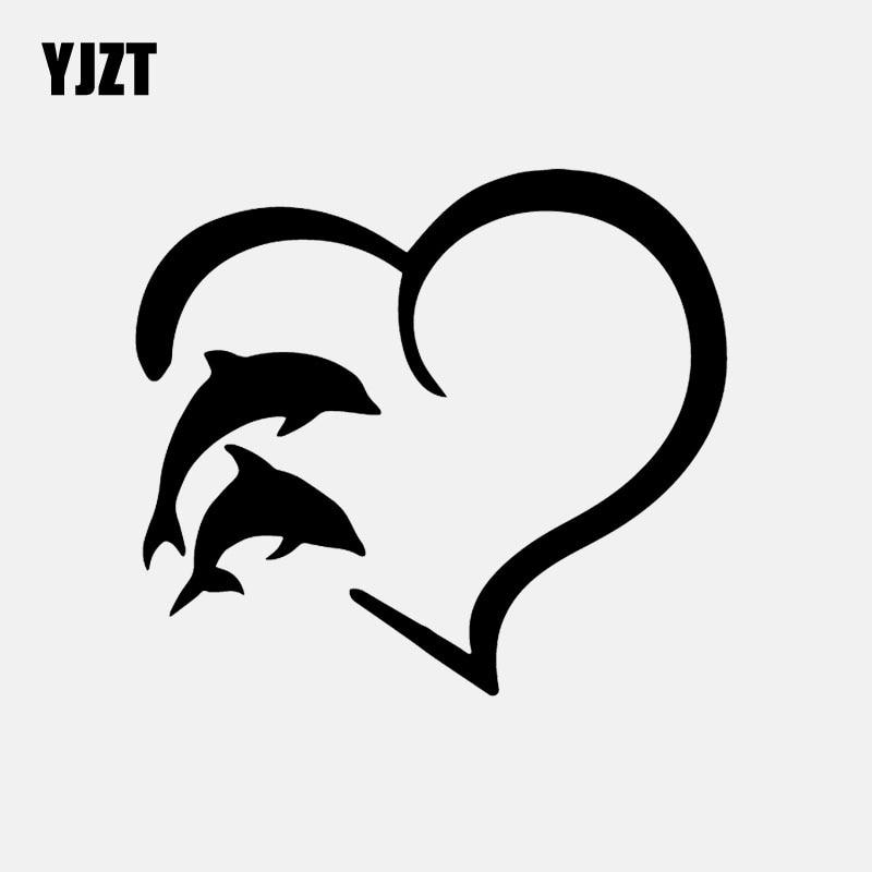 YJZT 14.8CM*13.1CM Heart Outline Dolphin Bottlenose River Ocean Car Sticker Vinyl Decal Decor Black/Silver C24-0774