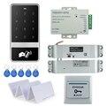 Sistema de controle de acesso RFID fechadura da porta digital de toque C60 + elétrica gota parafuso lock + 3A/12 V poder cartões de alimentação + botão de saída + 10 pcs chave