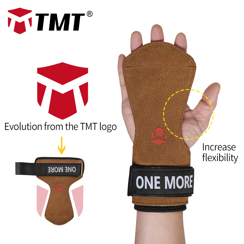 TMT Adjustable Wrist Support Grips Leather Palm Protectors Hand Guards Weight Lifting Barbell Fitness Grips GYM Glove Pull up in Wrist Support from Sports Entertainment