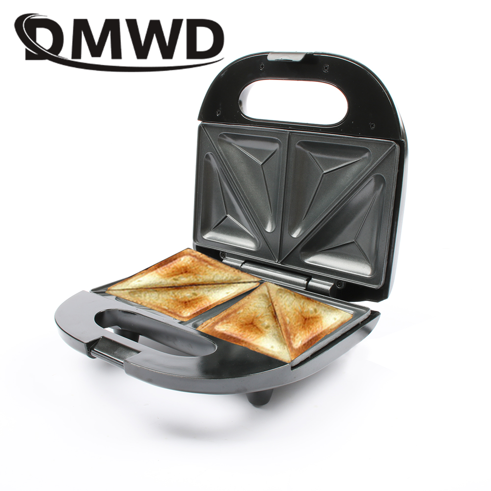 DMWD Multifunction Electric Eggs Sandwich Maker Mini Bread Grill waffle crepe Toaster Pancake baking Breakfast Machine EU plug dmwd home sandwich machine small diy crepe pancake breakfast waffle maker electric grill stainless steel 220v