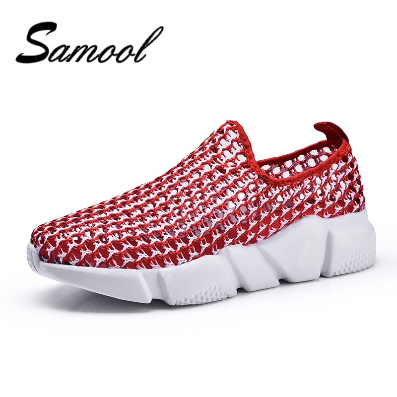 Samool Big Size New Summer Womens Shoes Fashion Hollow Weaving Slip-on Causal Breathable Non-slip Platform Flats Student JX5