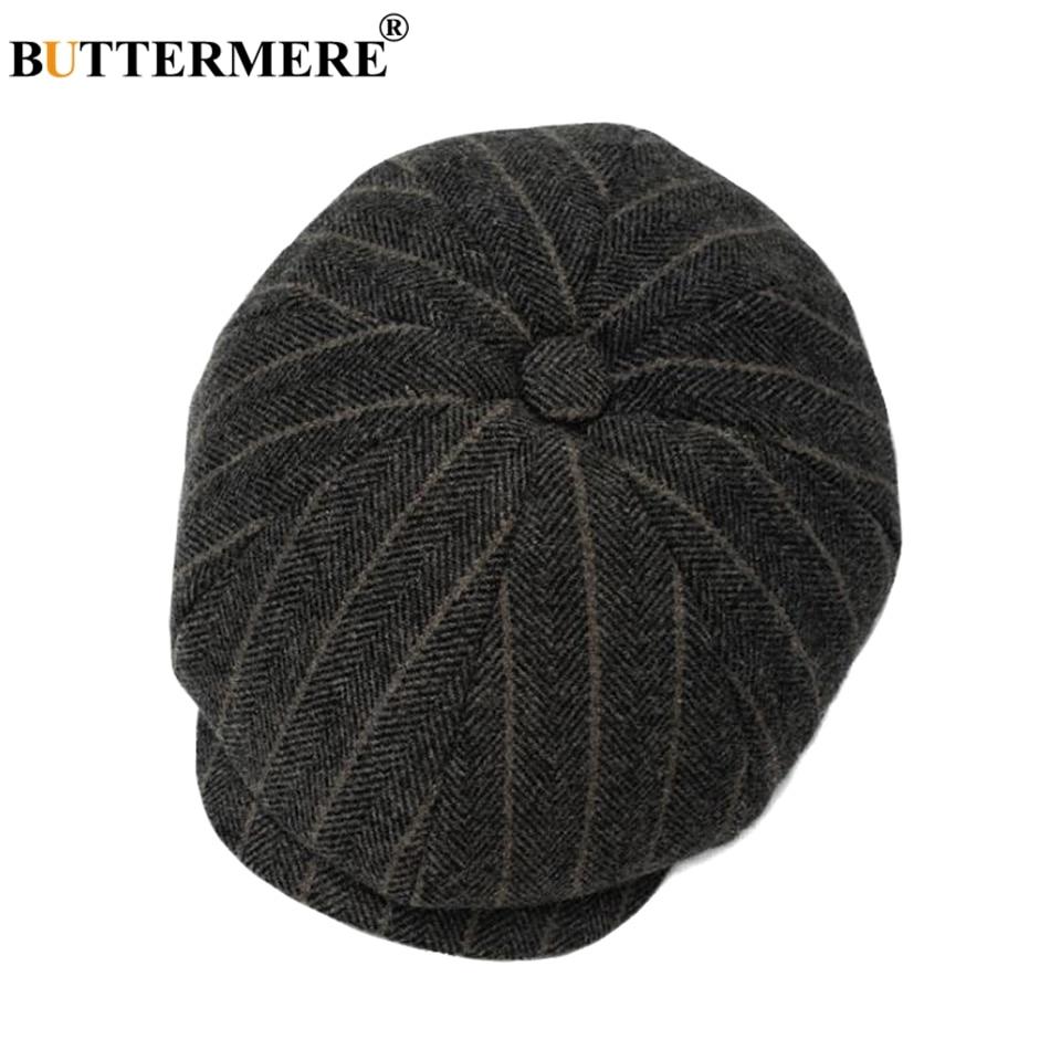 BUTTERMERE Woolen Octagonal Caps Men Tweed Herringbone Eight Piece Cap Male Vintage Autumn Classic British Painters Hats Berets