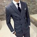Vestido de los hombres trajes Slim fit Doble de pecho chaqueta de traje casual de negocios de moda de Alta calidad de ropa de hombre del banquete de boda caballero