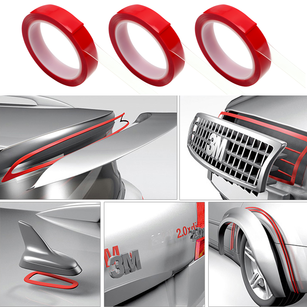 Car Double Side Tape Auto Glue Stickers Decoration Tools Acrylic Foam Transparent Adhesive Car Stickers 8/10/15/20mm*3m 3m auto tape size 10 15 20mmx3m double sided sticker acrylic foam adhesive car attachment interior tape free shipping