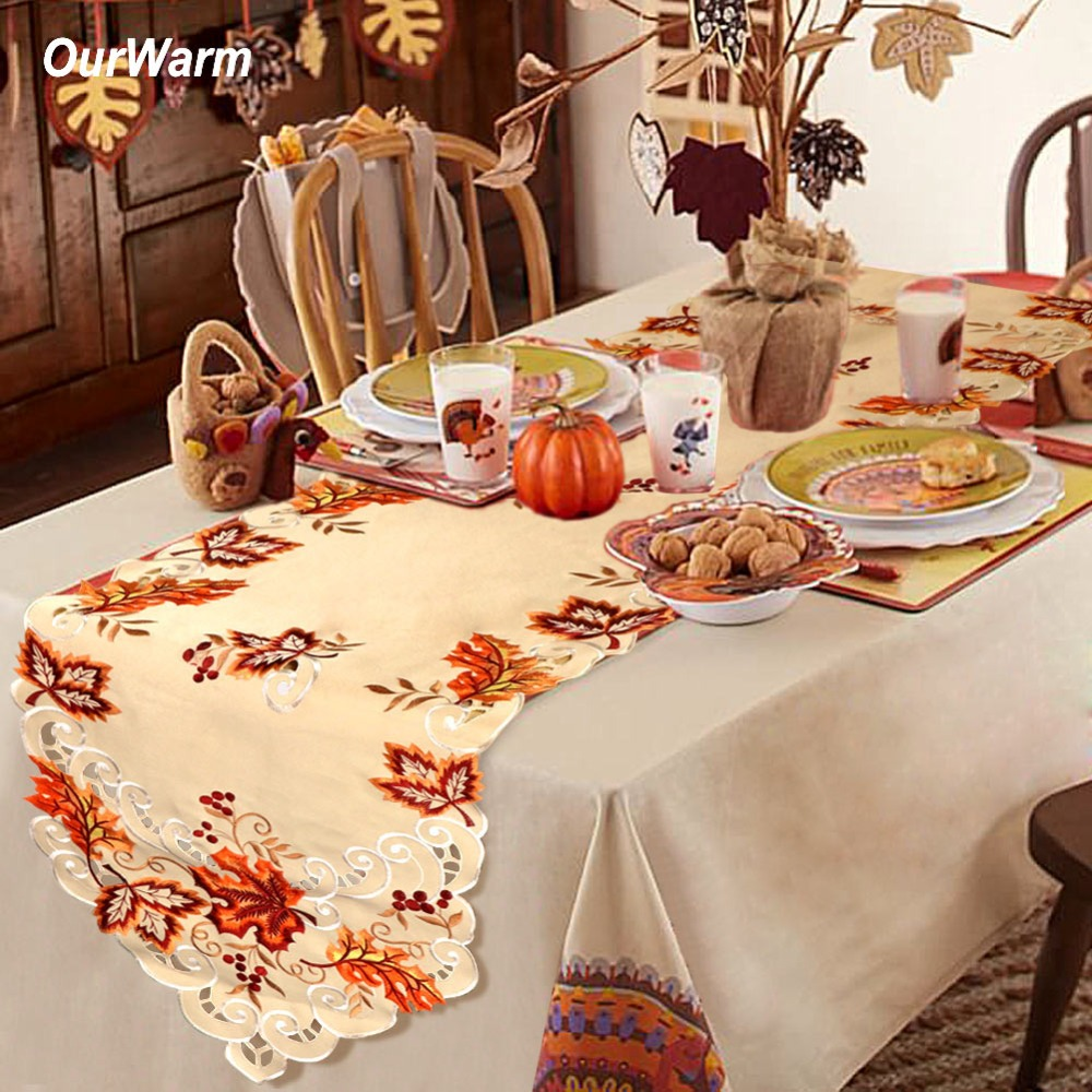 OurWarm Thanksgiving Table Runner 38*170cm Maple Leaves Embroidered Table Cover Birthday Fall Wedding Decoration Home Textile