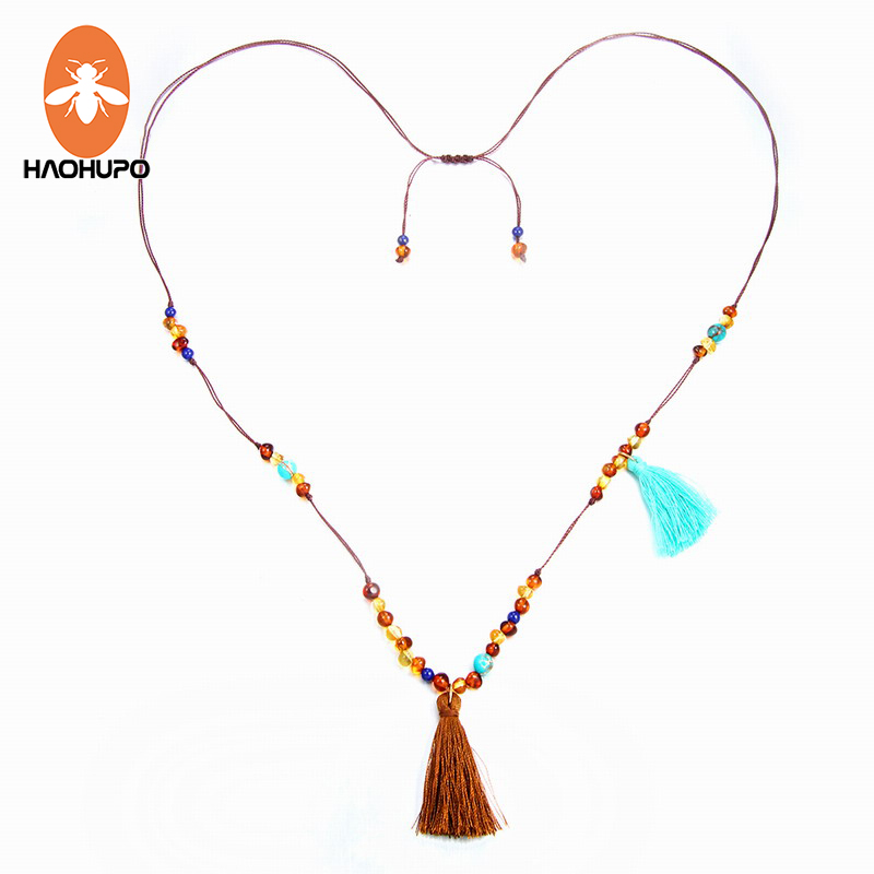 HAOHUPO Long Amber Necklace for Women Tassel Jewelry Bohemian Fashion Female Necklace Beach Jewelry with Natural Turquoise