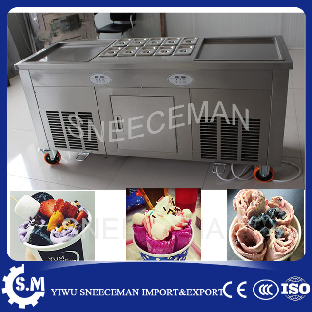 45cm square pan fried ice cream machine double pan roll flat fried ice cream roll roller machine square pan rolled fried ice cream making machine snack machinery