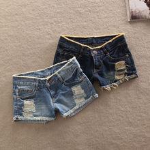 Pantalones vaqueros cortos con agujeros para mujer, Vaqueros cortos de cintura baja, informales, con bolsillos, gran oferta, 2019