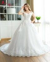 Jark Tozr Vente Chaude Perles Cap Manches Brillant Paillettes Blanc Tulle robe de Bal Robes De Mariée 2017 Robe De Noiva Hochzeitskleid