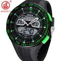 OHSEN Sports Watches Mens 50M Waterproof Quartz Alarm Chronograph Watch Big Dial Green Rubber Strap Wristwatch Relogio Masculino