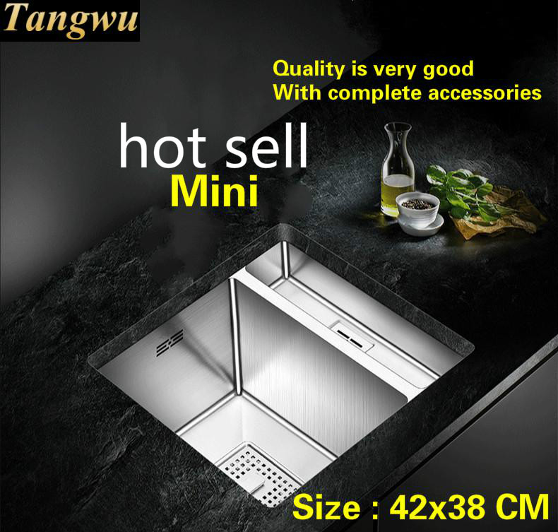 Free shipping Hot sell standard trumpet kitchen manual sink single trough 304 food grade stainless steel mini 42x38 CM Free shipping Hot sell standard trumpet kitchen manual sink single trough 304 food grade stainless steel mini 42x38 CM