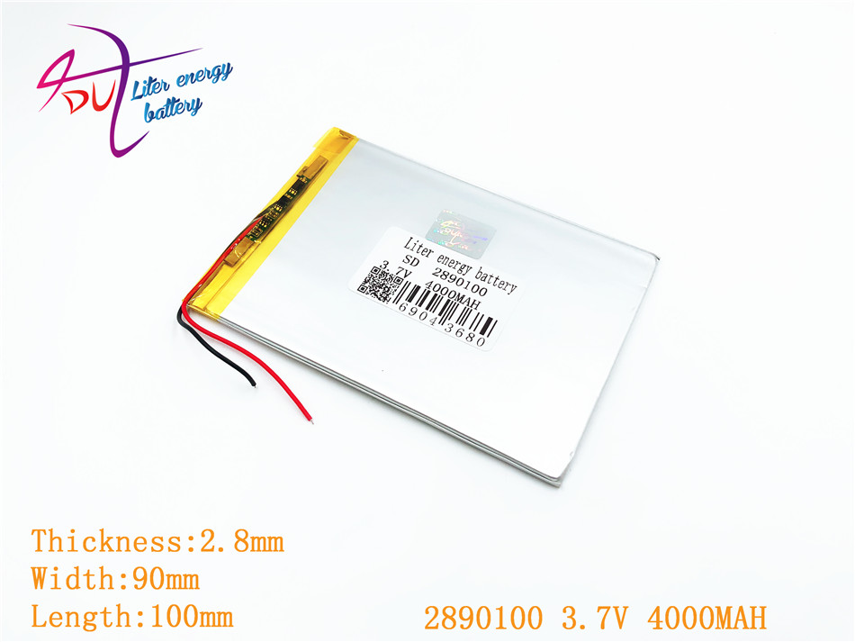 Liter energy battery 2890100 3.7V 3090100 4000MAH (polymer lithium ion battery) Li-ion battery for tablet pc 7 inch 8 inch 9inch 3 7v 8000mah sd 37125130 polymer lithium ion li ion battery for universal li ion battery for tablet pc 8 inch 9 inch 10 inch