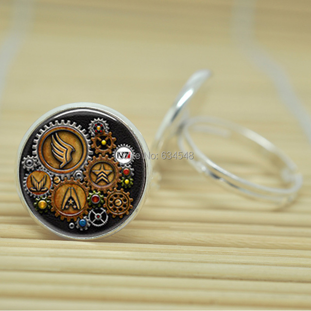 1pcs Steampunk Mass Effect Symbols Jewelry Glass Cabochon Adjustable