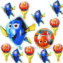 12pcs/lot mixed fish nemo foil balloons mini size round and large irregular helium for cartoon party balloon