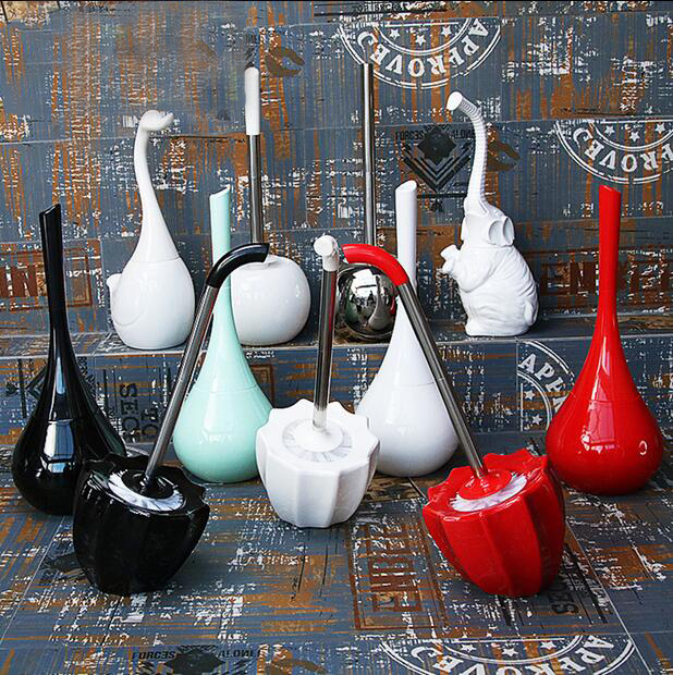 Good Quality ceramics Plastic High quality Long handle toilet brush holders bathroom Base Household Cleaning Tool 0313