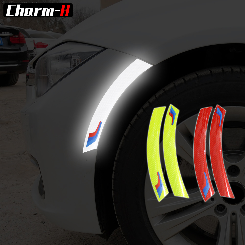 2PCS Car Wheel Protector Reflective Tape Strip Marking Car Anti-collision Sticker For Bmw E90 E60 E46 F30 F10 X1 X5 F07 F01