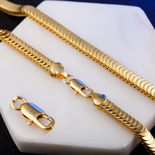 Gold Color Singapore Chain 20inch 7mm Gold Color Necklace & Bracelet For Women Men New Wholesale DIY Long Necklace Jewelry X217