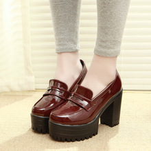 Women Retro Solid Color High Heel Platform Shoes 2015 Casual Shoes Ladies Thick-Heel Pumps Shoes Elegant Shoes Mujer Zapatos